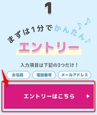 夏のカップル応援キャンペーンのページに移動し、ページ内にあるエントリーボタンをクリック