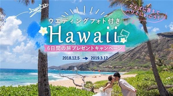 ウエディングフォト付きハワイ旅行プレゼントキャンペーン
